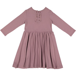 RIB Drawstring Dress Mauve - FINAL SALE