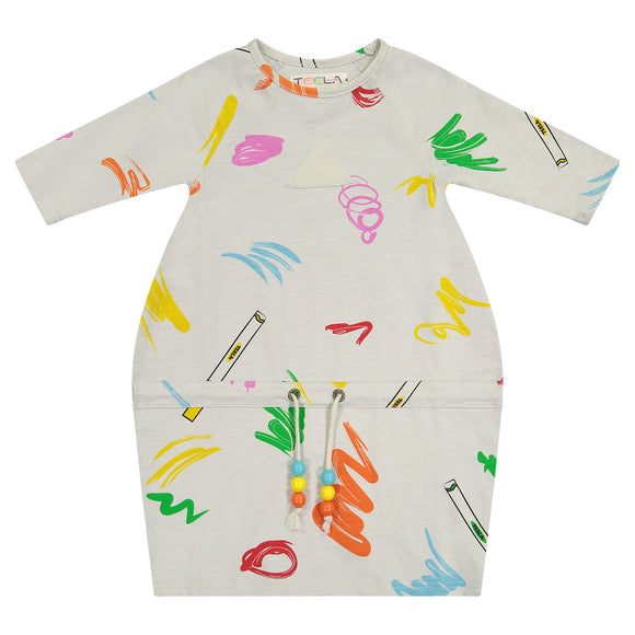 DRAWSTRING Marker Print Dress