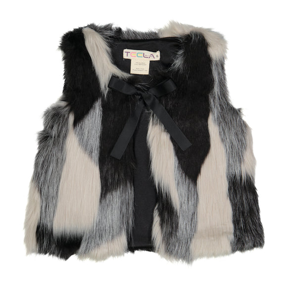 EMMA Fur Vest - White/Black - FINAL SALE