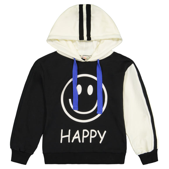 HAPPY-GRUMPY  Hoodie Striped Sleeve Top