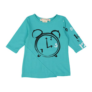 CLOCK Girl's Triangle Patch Tshirt - Robin Blue