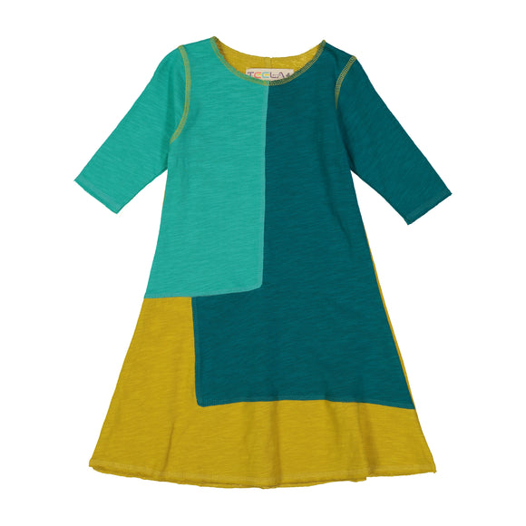 A-Line Colorblock Dress - teal/gold - FINAL SALE