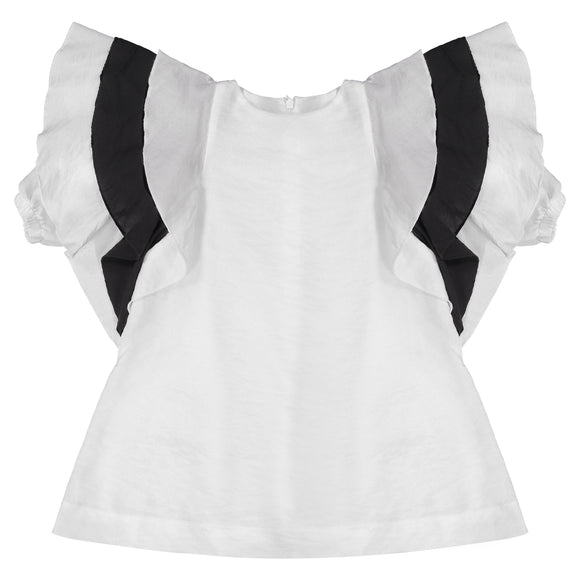 AVA Oversized Ruffle Sleeve Dress - WHITE/BLACK