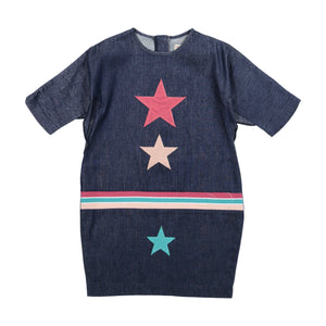 DENIM WEB Star Patch Dress - RIB - Dark Denim