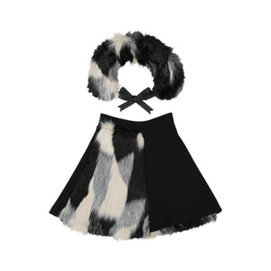 ROSE Half Fur Skirt with Collar White/Black - FINAL SALE
