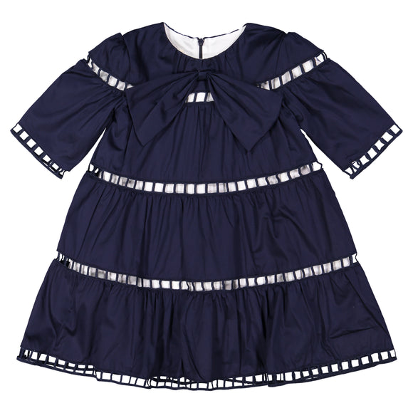 LORA Eyelet Dress - NAVY
