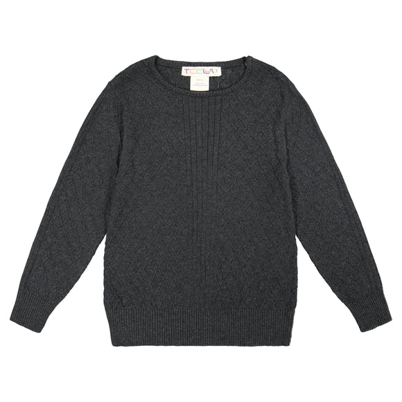 Cable Knit Boy's Top - Charocal