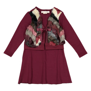 "CLOE Fur ""Vest"" Dress - Merlot - FINAL SALE"
