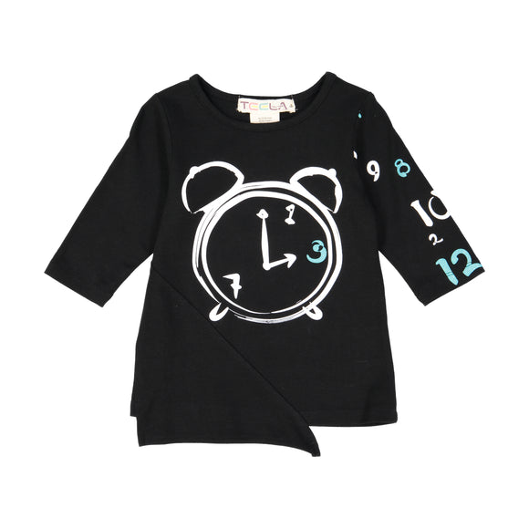 CLOCK Girl's Triangle Patch Tshirt - Black