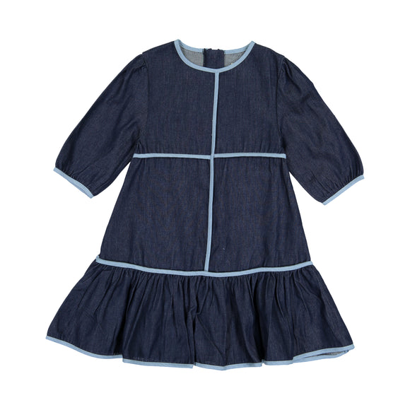 DENIM PIPING Dress - Dark Denim