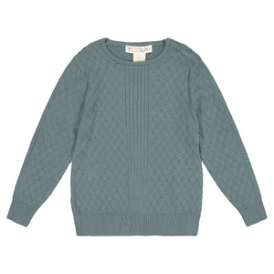 Cable Knit Boy's Top - Mist teal