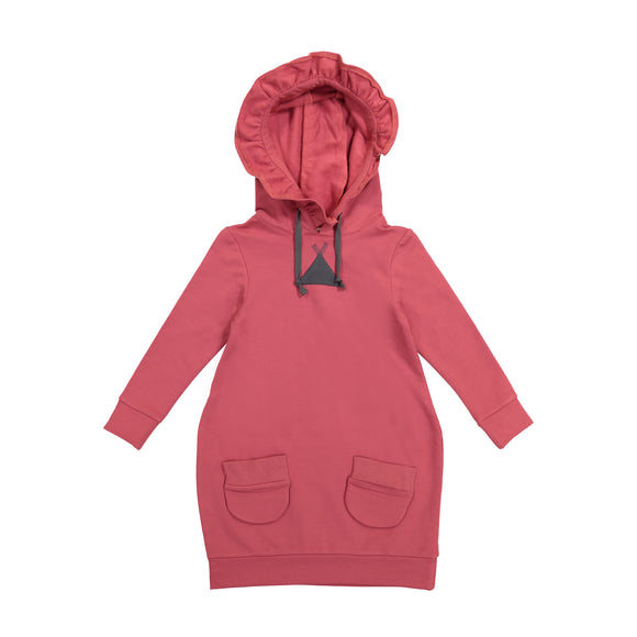 JILL Solid Ruffle Hooded Bubble Dress - Rose - FINAL SALE