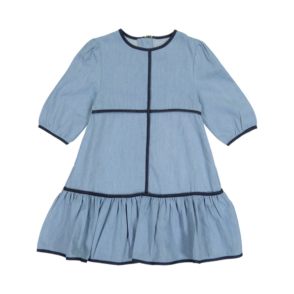 DENIM PIPING Dress - Light Denim