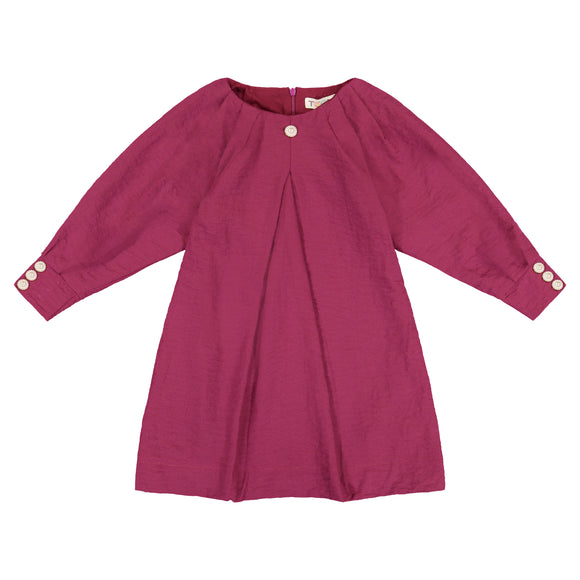 Dolman Pleated Sleeve Dress - cranberry