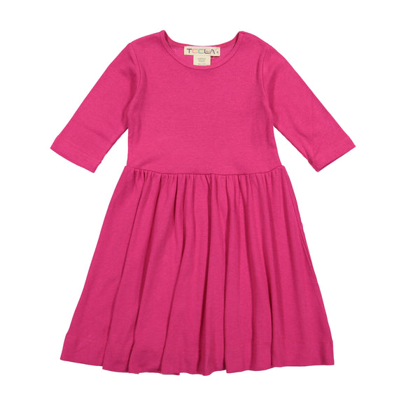 RIB Waisted Dress - Hot Pink