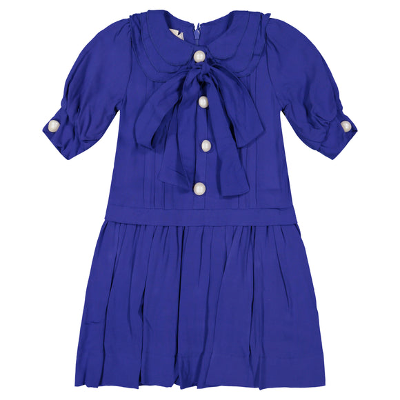 KATE Oversized Bow Pleat Dress - ROYAL