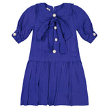 KATE Oversized Bow Pleat Dress - ROYAL - FINAL SALE