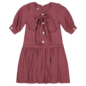 KATE Oversized Bow Pleat Dress - BRICK - FINAL SALE