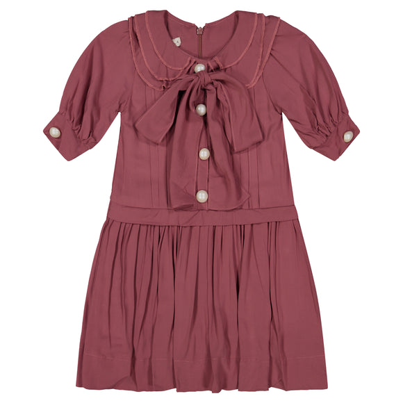 KATE Oversized Bow Pleat Dress - BRICK