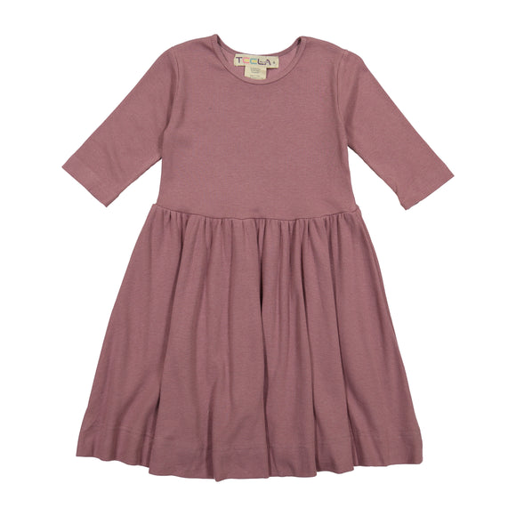 RIB Waisted Dress - Mauve