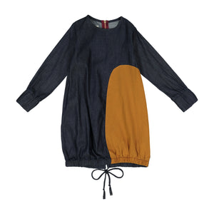 DENIM Drawstring Bubble Patch Dress - FINAL SALE