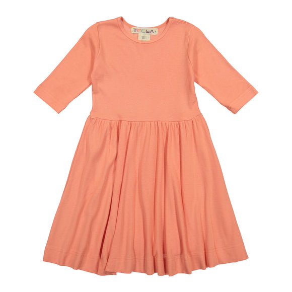 RIB Waisted Dress - Peach