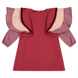 Triple Ruffle Sleeve Dress - ruby