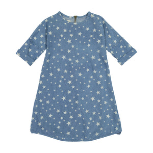 DENIM STRAIGHT Star Print Dress - Light Denim - FINAL SALE!