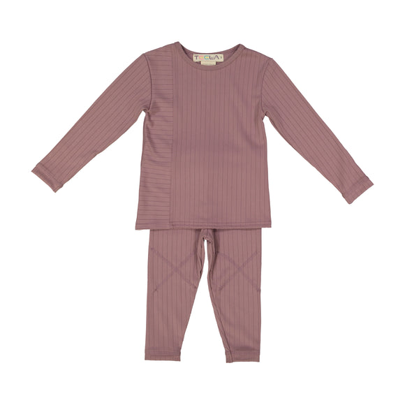RIB 2 Piece Loungeware - Mauve -FINAL SALE