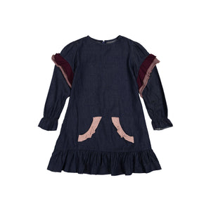 DENIM Kangaroo Pocket Dress - Dark Denim PINK RUFFLE