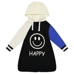 HAPPY-GRUMPY Deconstructed Sleeve Dress with Hoodie