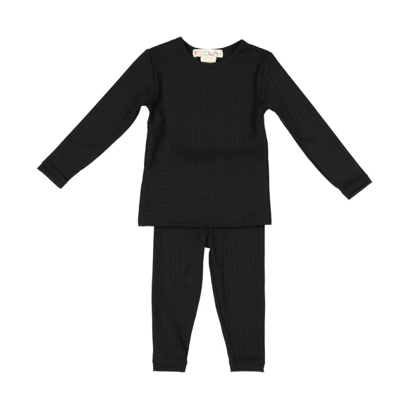 RIB 2 Piece Loungeware - Black - FINAL SALE