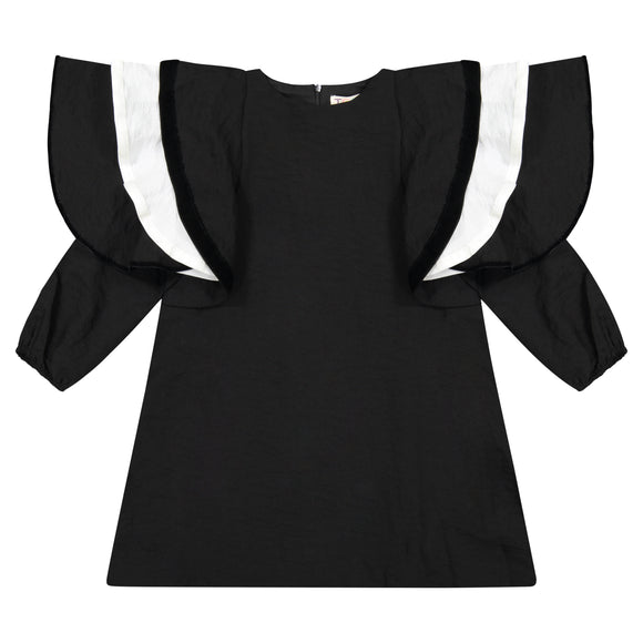 Triple Ruffle Sleeve Dress - black