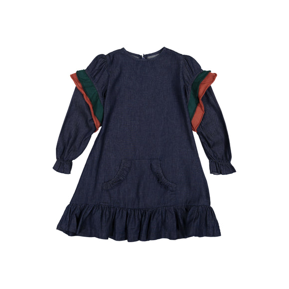 DENIM Kangaroo Pocket Dress - Dark Denim HUNTER/RUST RUFFLE
