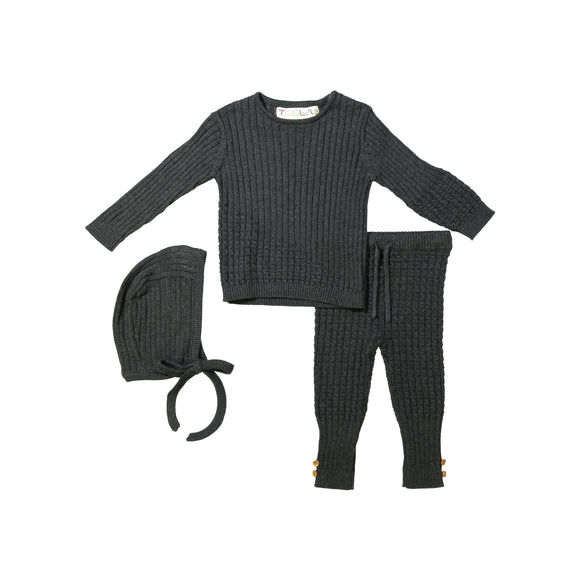 BABY Cable Knit 3 Piece Set - Charcoal