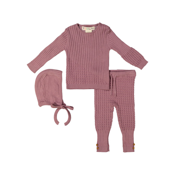 BABY Cable Knit 3 Piece Set - Liliac