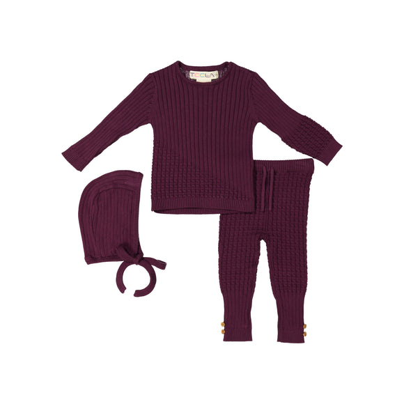 BABY Cable Knit 3 Piece Set - Plum