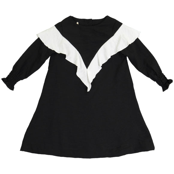 TARA Ruffle Shawl Dress Black
