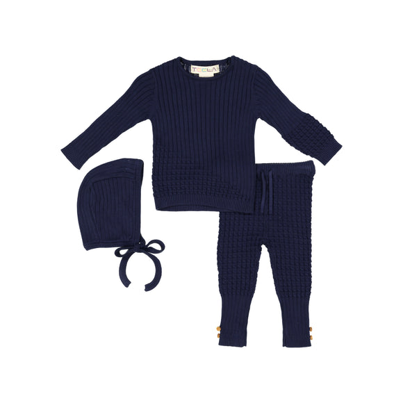 BABY Cable Knit 3 Piece Set - Navy Blue
