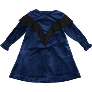 TARA Ruffle Shawl Dress Navy. - FINAL SALE