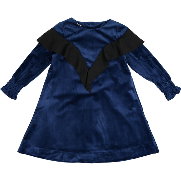 TARA Ruffle Shawl Dress Navy