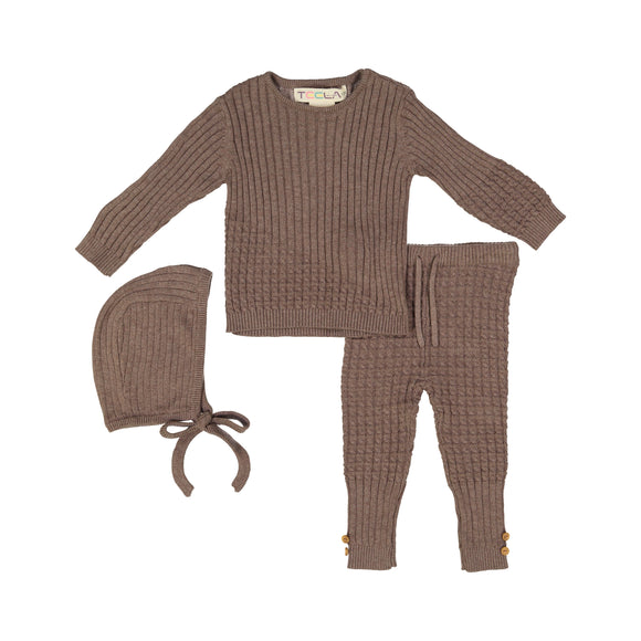 BABY Cable Knit 3 Piece Set - Toffee