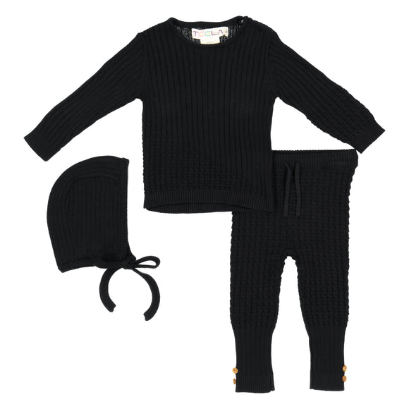 BABY Cable Knit 3 Piece Set - Black