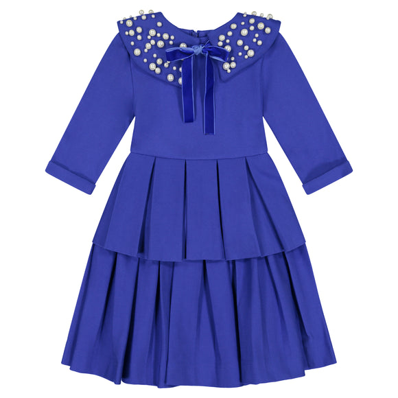 Circle Dress with Double Peplum - royal blue
