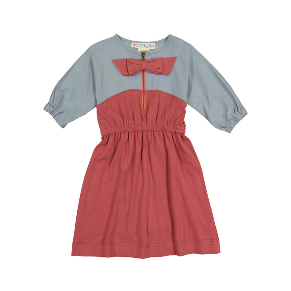 ZIPPER BOW Solid Dress