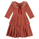 Circle Dress with Double Peplum - rust orange - FINAL SALE