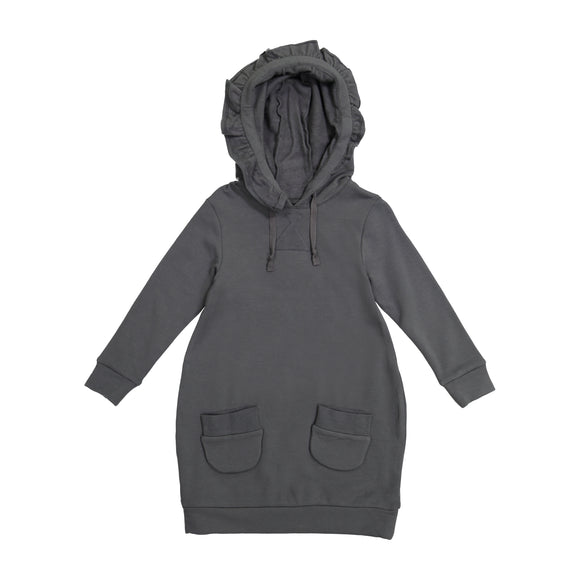 JILL Solid Ruffle Hooded Bubble Dress - Charcoal