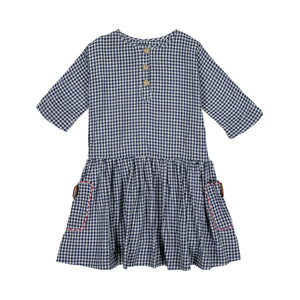 SMOCK Gingham Print Dress - Navy