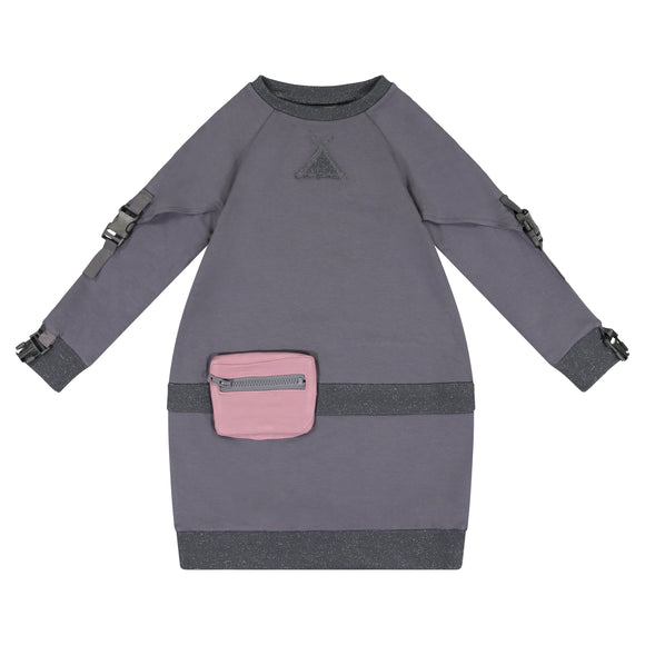 SOLID Buckle Sleeve Bubble Pouch Dress - Charcoal Grey