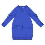 SOLID Buckle Sleeve Bubble Pouch Dress - Royal Blue - FINAL SALE